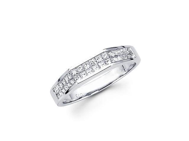 14k White Gold Princess Channel Set Diamond Ring .74ct (G-H Color, SI1 Clarity)