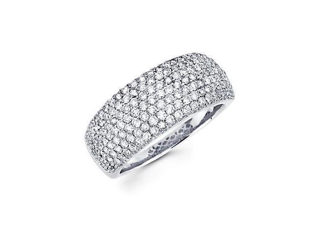 14k White Gold Large Pave Round Diamond Ring 1.51 ct (G-H Color, SI2 Clarity)