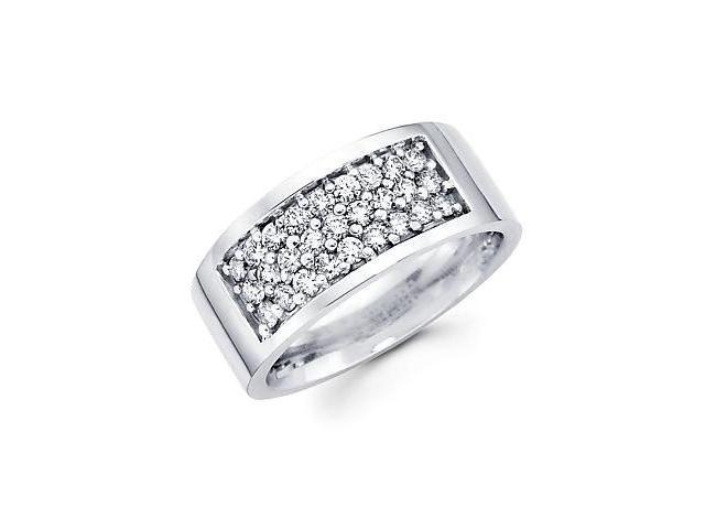 14k White Gold Mens Round Diamond Wedding Ring Band 1.09 ct (G-H Color, SI2 Clarity)