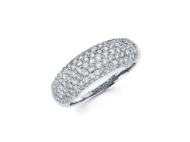 14k White Gold Round Diamond Pave Dome Ring Band 1.30ct (G-H Color, SI2 Clarity)