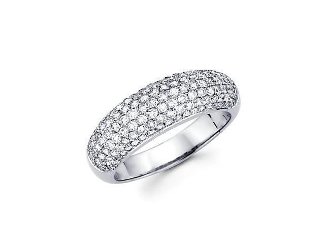 14k White Gold Round Diamond Pave Dome Ring Band 1.18ct (G-H Color, SI2 Clarity)