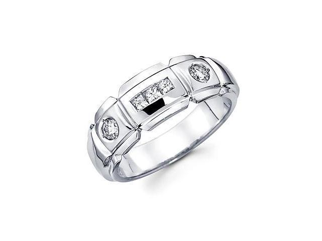 14k White Gold Mens Diamond Wedding Ring Band .52 ct (G-H Color, SI2 Clarity)