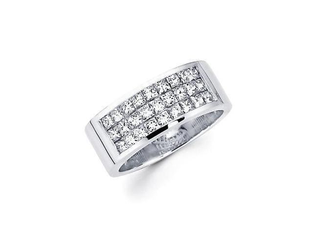 14k White Gold Princess Diamond Wedding Ring Band 1.2ct (G-H Color, SI1 Clarity)