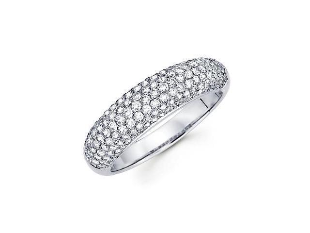 14k White Gold Round Diamond Pave Dome Ring Band 1.02ct (G-H Color, SI2 Clarity)