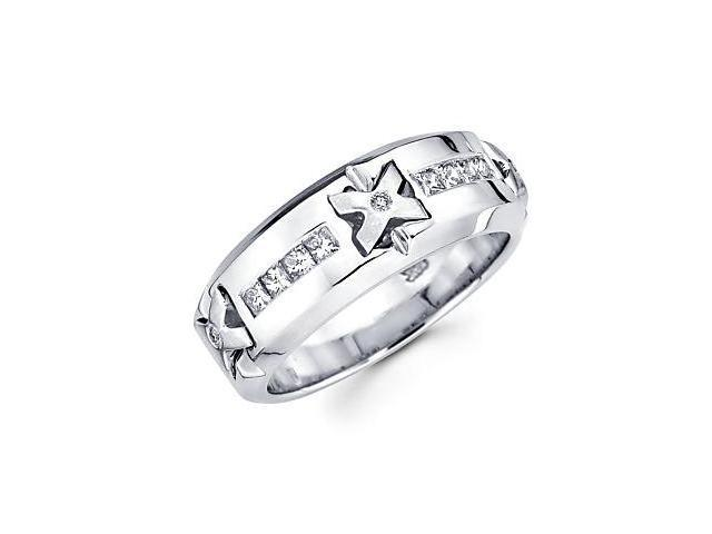 14k White Gold Mens Diamond Wedding Ring Band 1/2 ct (G-H Color, SI2 Clarity)