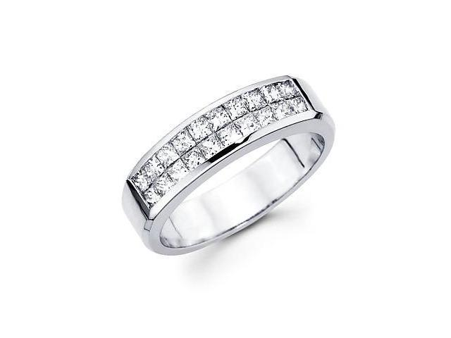 14k White Gold Princess Diamond Wedding Ring Band .84ct (G-H Color, SI1 Clarity)