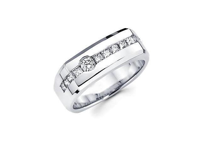 14k White Gold Mens Diamond Wedding Ring Band 1.09 ct (G-H Color, SI2 Clarity)