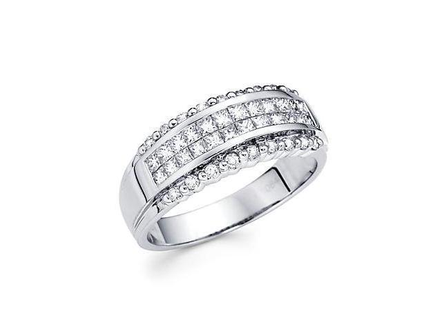 14k White Gold Princess and Round Diamond Ring .85ct (G-H Color, SI2 Clarity)