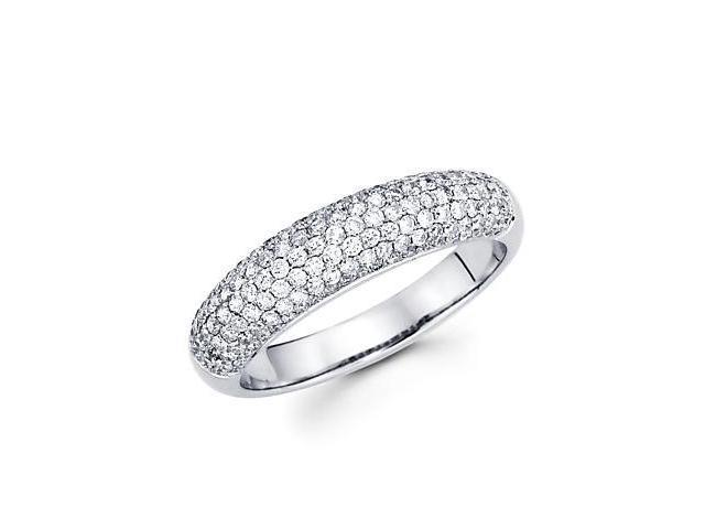 14k White Gold Round Diamond Pave Dome Ring Band .80 ct (G-H Color, SI2 Clarity)