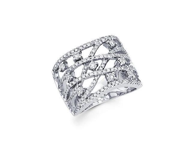 14k White Gold Large Diamond Cross Over Ring Band .94ct (G-H Color, SI2 Clarity)