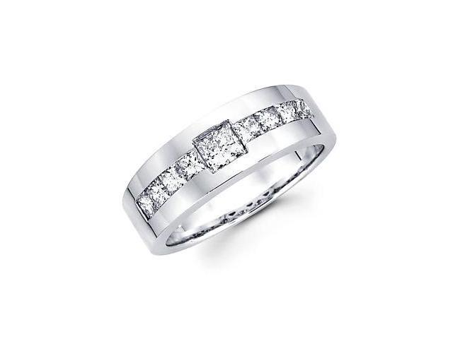 14k White Gold Mens Diamond Wedding Ring Band 1.43 ct (G-H Color, SI1 Clarity)