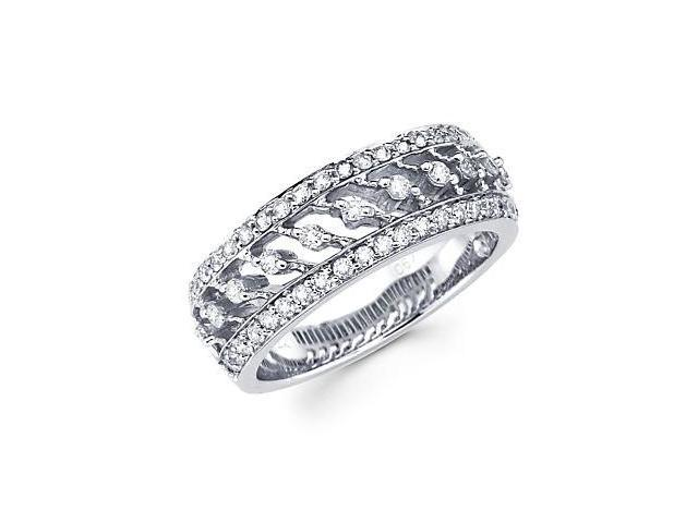 14k White Gold Diamond Anniversary Right Hand Fashion Ring Band 0.67 ct (G-H Color, SI2 Clarity)