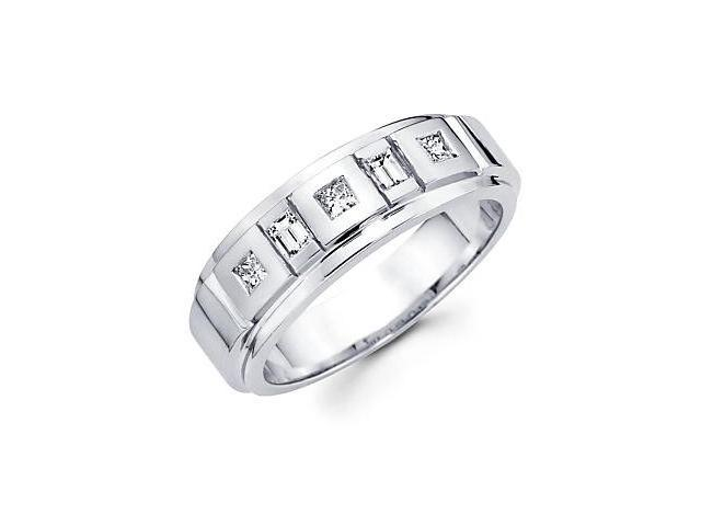 14k White Gold Mens Diamond Wedding Ring Band .43 ct (G-H Color, SI1 Clarity)
