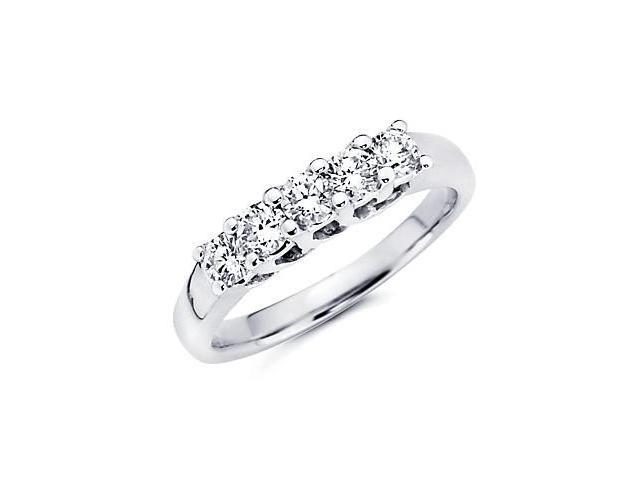 14k White Gold 5 Five Diamond Womens Ladies Wedding Ring Band .42 ct (G-H Color, SI2 Clarity)