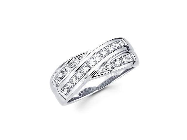 14k White Gold Cross Over Diamond Ring Band 3/4 ct (G-H Color, SI2 Clarity)
