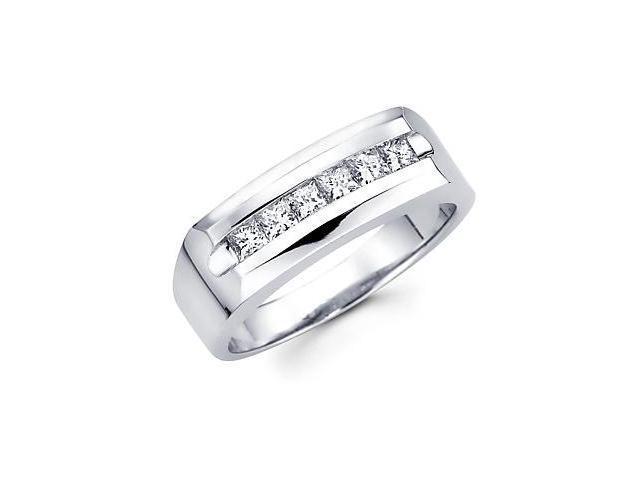 Princess Cut Channel Set 14k White Gold Mens Diamond Wedding Ring Band 3/4 ct (G-H, SI1)