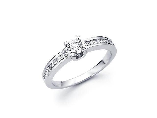 14k White Gold Engagement Diamond Thin Band Ring .54ct (G-H Color, SI2 Clarity)