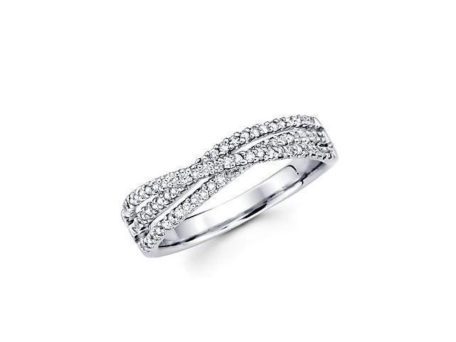 14k White Gold Diamond Anniversary Right Hand Fashion Ring Band 0.38 ct (G-H Color, SI2 Clarity)
