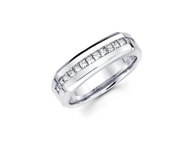 Princess Cut Channel Set 14k White Gold Mens Diamond Wedding Ring Band .71 ct (G-H, SI1)