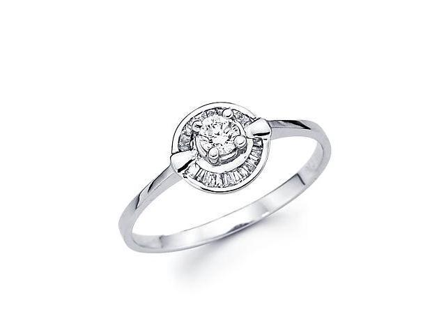 14k White Gold Engagement Diamond Thin Band Ring .28ct (G-H Color, SI2 Clarity)