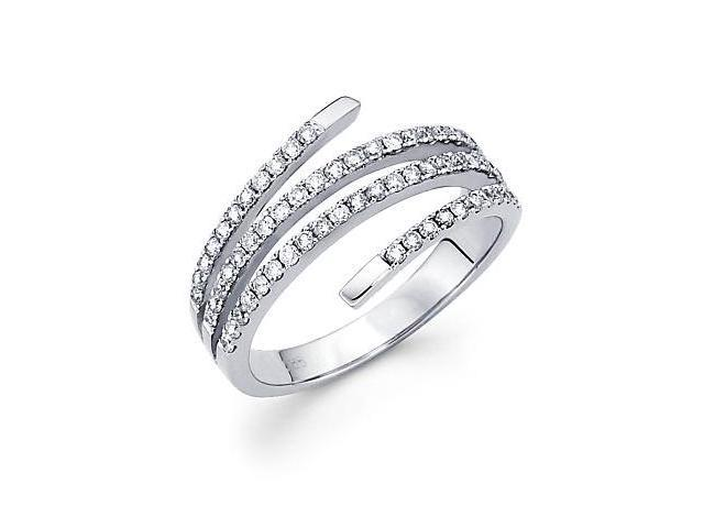14k White Gold Diamond Anniversary Right Hand Fashion Ring Band 0.52 ct (G-H Color, SI2 Clarity)