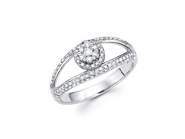 14k White Gold Round Diamond Pave Ring Band .49 ct (G-H Color, SI2 Clarity)