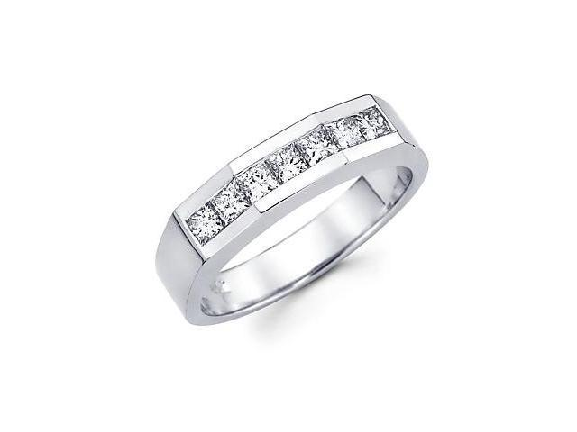 Princess Cut Channel Set 14k White Gold Mens Diamond Wedding Ring Band 1.0 ct (G-H, SI1)