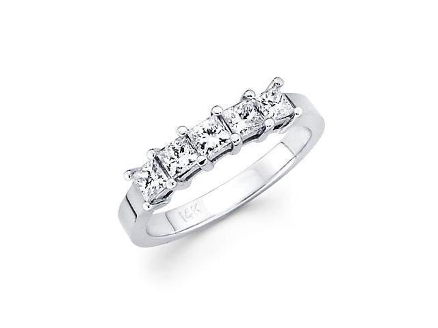 14k White Gold 5 Five Diamond Princess Cut Womens Ladies Wedding Ring (G-H Color, SI1 Clarity)