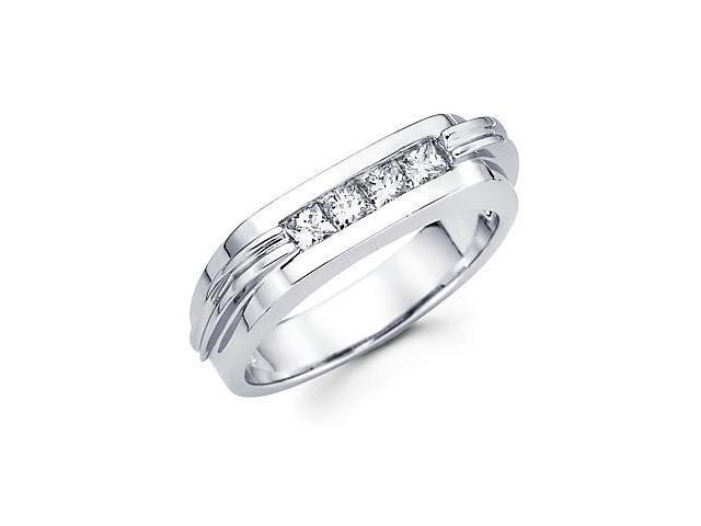 Princess Cut Channel Set 14k White Gold Mens Diamond Wedding Ring Band .65 ct (G-H, SI1)