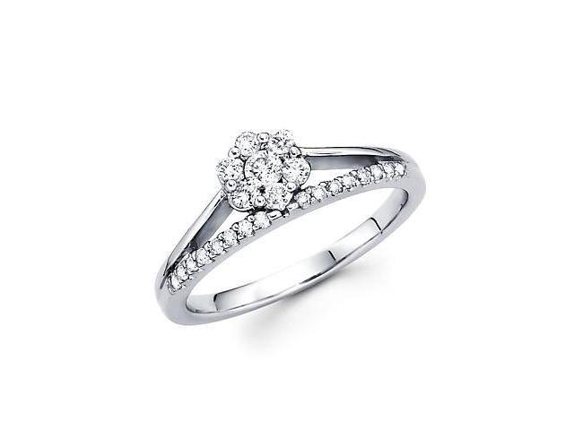 14k White Gold Round Diamond Flower Ring Band .37 ct (G-H Color, SI2 Clarity)