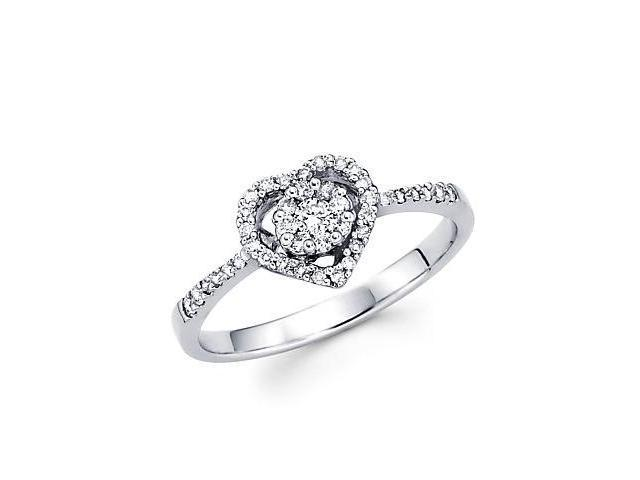 14k White Gold Diamond Heart Shape Ring Band .32 ct (G-H Color, SI2 Clarity)
