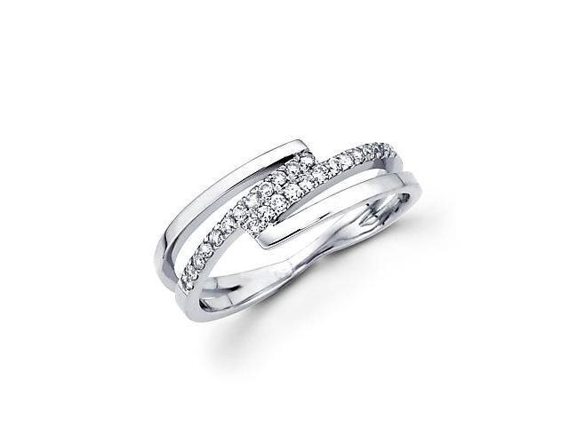 14k White Gold Diamond Anniversary Right Hand Fashion Ring Band 0.21 ct (G-H Color, SI2 Clarity)