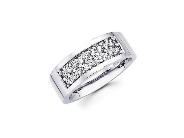 14k White Gold Mens Round Diamond Wedding Ring Band .71 ct (G-H Color, SI2 Clarity)