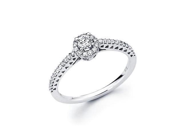 14k White Gold Round Diamond Pave Ring Band .36 ct (G-H Color, SI2 Clarity)