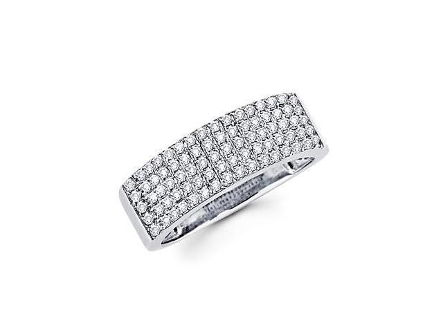 14k White Gold Diamond Anniversary Right Hand Fashion Ring Band 1/2 ct (H Color, I1 Clarity)