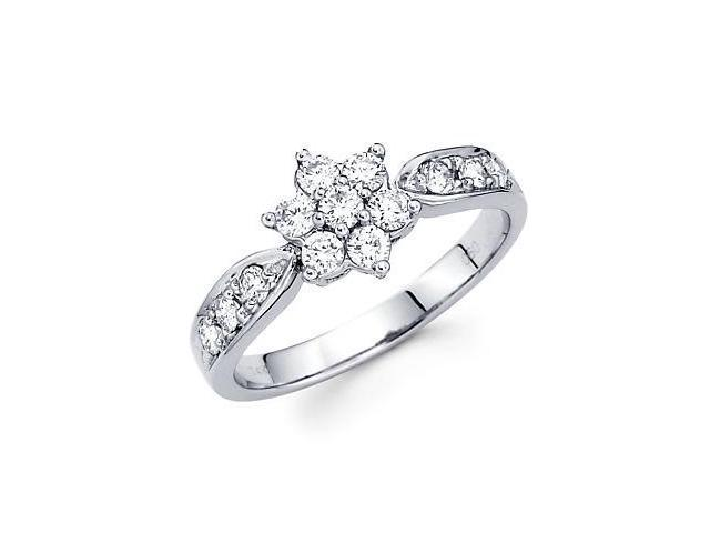14k White Gold Round Diamond Flower Ring Band .60 ct (G-H Color, SI2 Clarity)