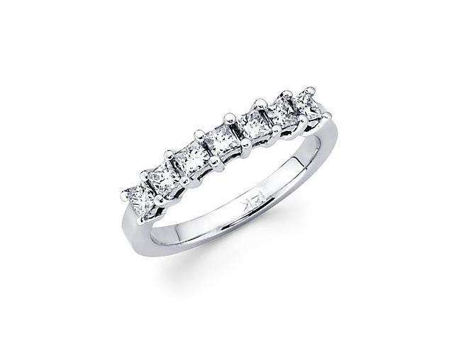 14k White Gold 7 Diamond .72ct Princess Cut Womens Ladies Wedding Ring Band (G-H Color, SI1 Clarity)