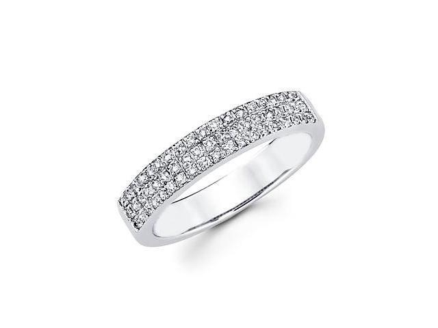 14k White Gold Diamond Anniversary Right Hand Fashion Ring Band 1/3 ct (H Color, I1 Clarity)