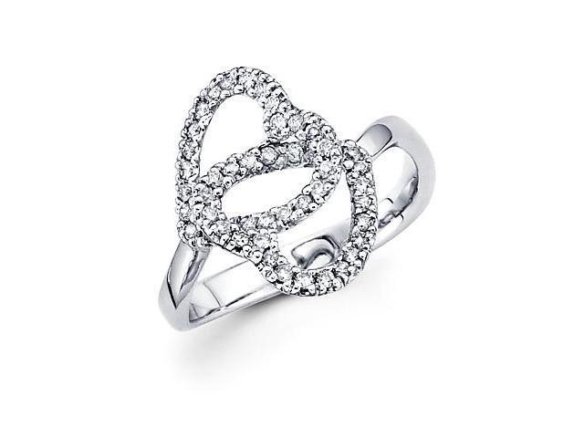 14k White Gold Two Heart Shape Love Diamond Ring 1/3 ct (H Color, I1 Clarity)