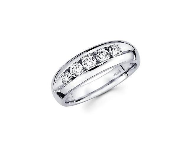 14k White Gold Mens 5 Five Round Diamond Wedding Ring Band .98 ct (G-H Color, SI2 Clarity)
