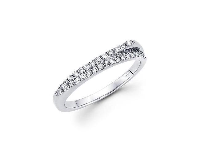 14k White Gold Diamond Anniversary Right Hand Fashion Ring Band 1/4 ct (G-H Color, SI2 Clarity)