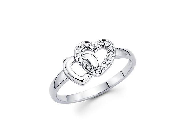 14k White Gold Two Heart Shape Love Diamond Ring .07 ct (G-H Color, SI2 Clarity)