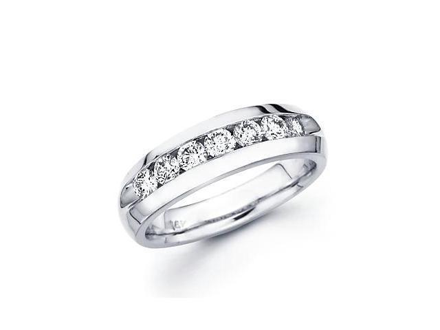 14k White Gold Mens Round Diamond Wedding Ring Band 1.0 ct (G-H Color, SI2 Clarity)