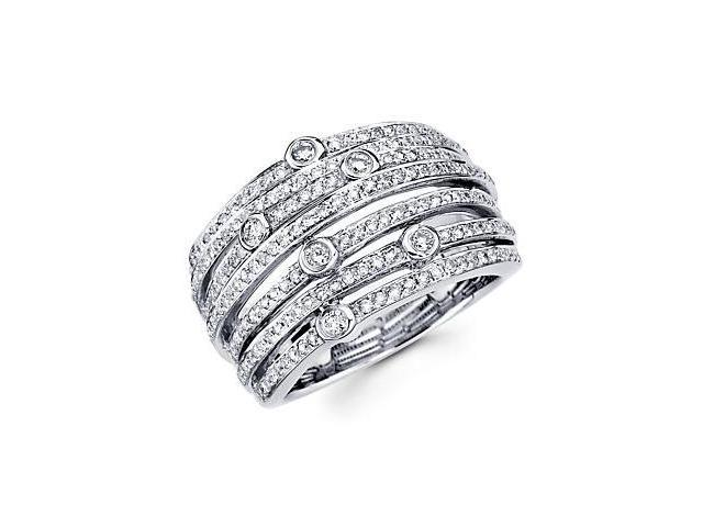 14k White Gold Large Diamond Cross Over Ring Band .87ct (G-H Color, SI2 Clarity)