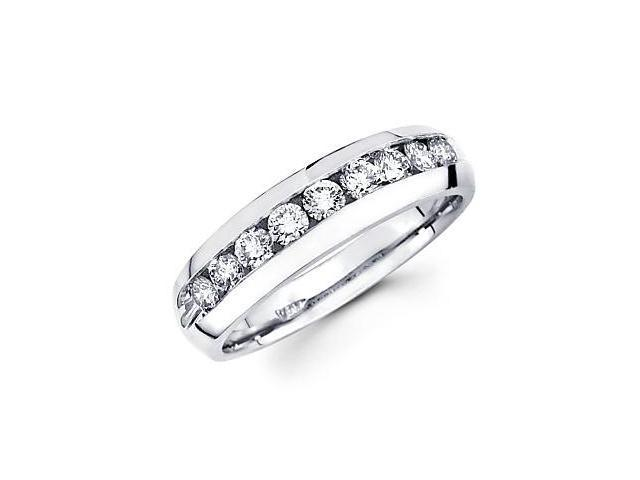 14k White Gold Mens Round Diamond Wedding Ring Band 1.11 ct (G-H Color, SI2 Clarity)