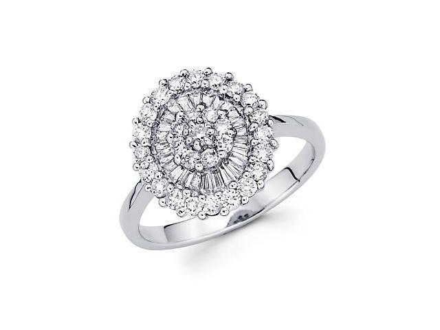 14k White Gold Large Round Diamond Ring Band 1.02 ct (G-H Color, SI2 Clarity)