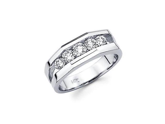 14k White Gold Mens Large 5 Five Round Diamond Wedding Ring Band 1.14 ct (G-H Color, SI2 Clarity)