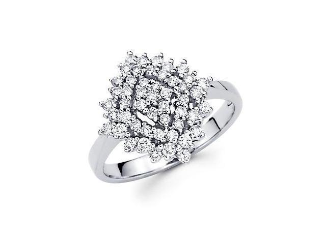 14k White Gold Cluster Round Diamond Ring Band .74 ct (G-H Color, SI2 Clarity)
