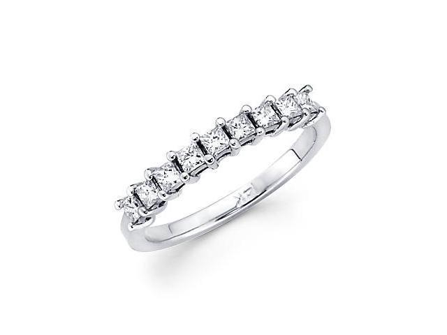 14k White Gold Princess Cut 9 Diamond .92ct Womens Ladies Wedding Ring Band (G-H Color, SI1 Clarity)