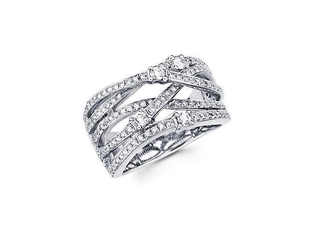 14k White Gold Large Diamond Cross Over Ring Band .66ct (G-H Color, SI2 Clarity)